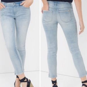 WHBM Skinny Leg Cropped Jeans with Ankle Zippers